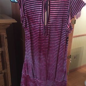 Vanity Tops - EUC Pink and Black striped Top